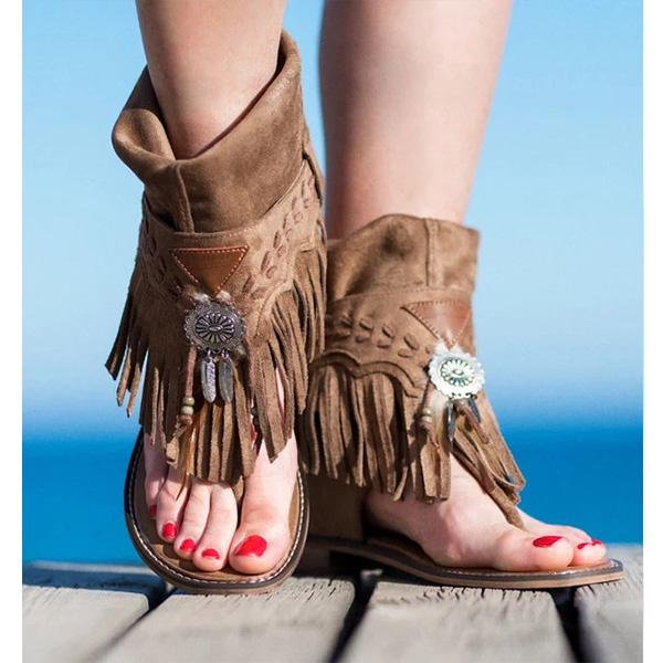 Frosted Fringed Clip Toe Roman Sandals