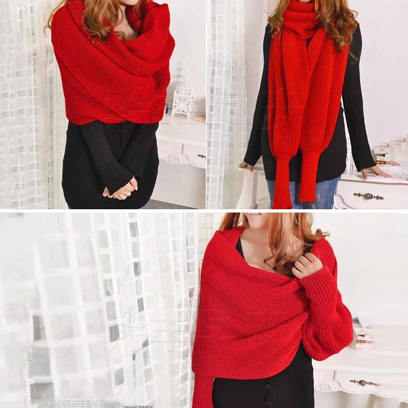 Fashion Crochet Knitted Sweater Scarf Shawl with Sleeves(Buy 1 Get 2nd 10% OFF)