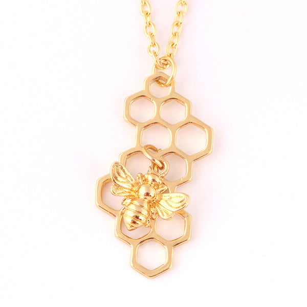 Cute Honeycomb Little Bee Necklace(BUY 1 GET 2ND 10% OFF)