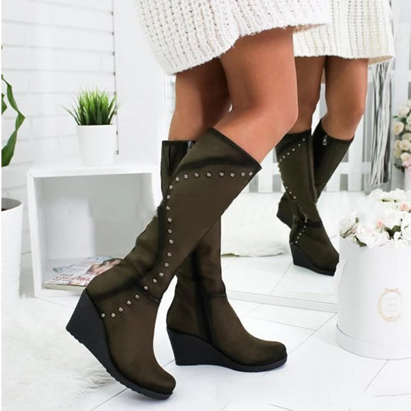 Rivets Wedge Mid-heel Women's Boots