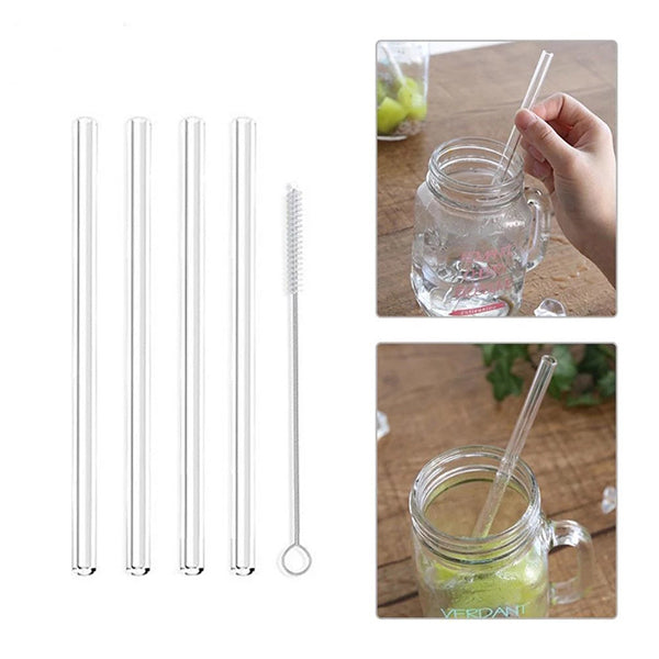 Transparent Glass Straight Straw Color Heat-resistant Juice Drink Straw 2pcs