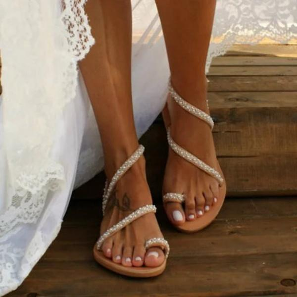 Plus Size Summer Women's Flat Rhinestone Sandals