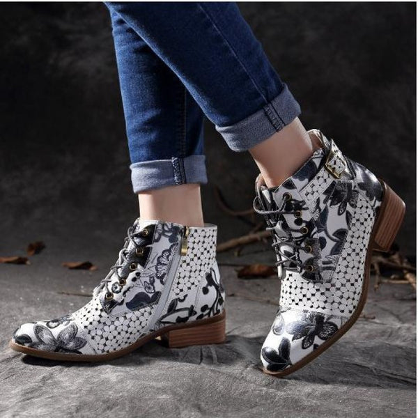 Women's Print Flat Heel Lace-up Booties
