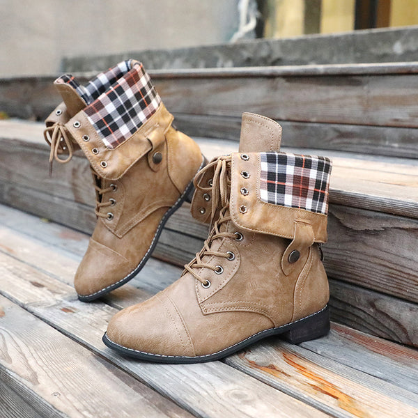 Autumn Winter Low-heeled Retro Motorcycle Martin Women's Boots