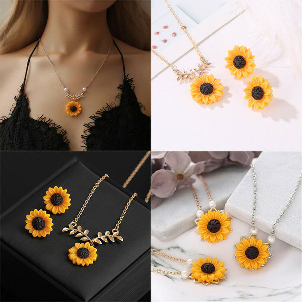 Sunflower Necklace Earrings(BUY 1 GET 2ND 10% OFF)