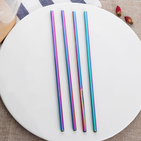 4 Pack - Stainless Steel Reef Straws with Cleaner Brush