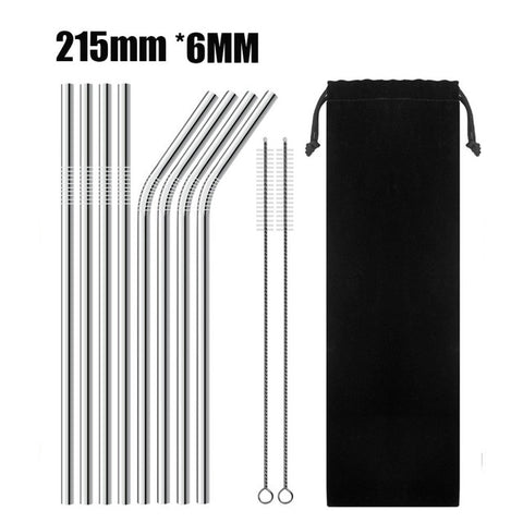 8 Pack - Assorted Silver Reef Straws with Cleaning Brush