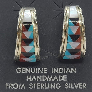 Zuni Multi -Stone Inlay Earrings -