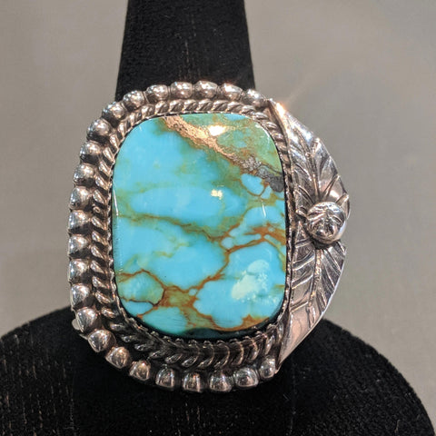 Large Turquoise with Leaf Design Ring SZ 10.5 - Item #1172