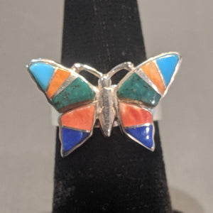 Multi stone Inlay butterfly ring