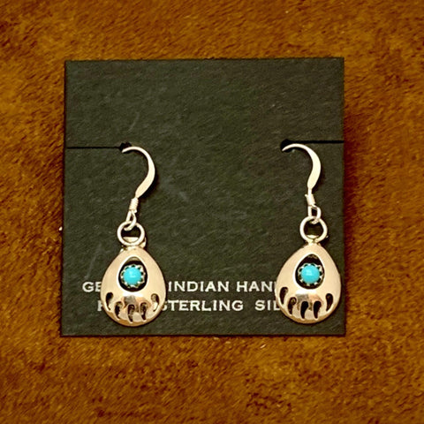 Sterling Silver and Turquoise bear paw Earrings