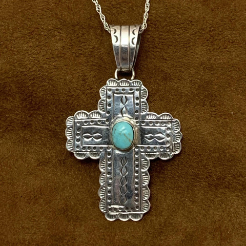 Turquoise and Stamped Silver Cross Pendant