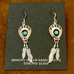 Sterling Silver and Turquoise bear paw feather Earrings