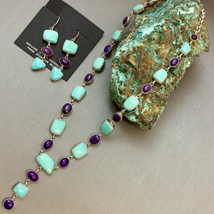 Sugilite and Green Turquoise Necklace And Earring Set
