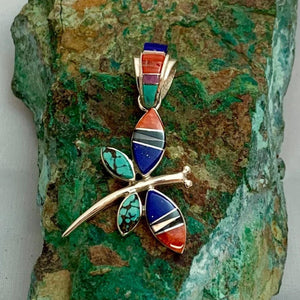 Multi Stone Inlay Dragonfly Pendant
