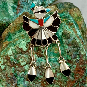 Zuni hand crafted Pendant/Pin combo inlaid with Turquoise, Black Jet, Mother of Pearl and Red Coral