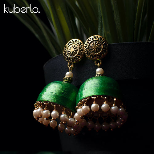 Hand Made Jhumka earrings - Green - Kuberlo - Best Gift for - Imitation Jewellery - Designer Jewellery - one gram gold - fashion jewellery