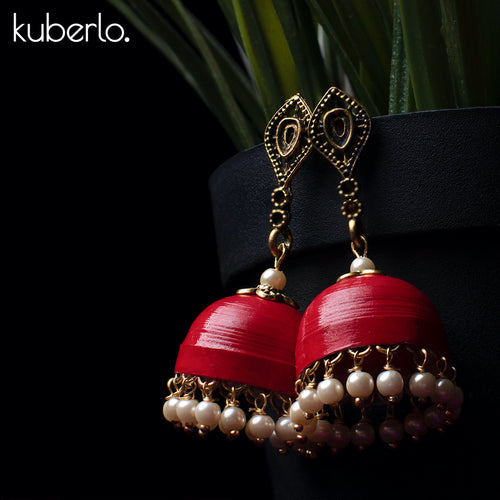 Hand Made Jhumka earrings - Red - Kuberlo - Best Gift for - Imitation Jewellery - Designer Jewellery - one gram gold - fashion jewellery