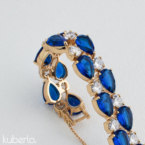 Blue Crystal Sparkle Bracelet - Kuberlo - Best Gift for - Imitation Jewellery - Designer Jewellery - one gram gold - fashion jewellery