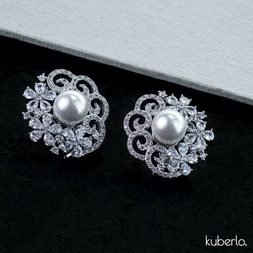 Stella Crystal Studs Silver - Kuberlo - Best Gift for - Imitation Jewellery - Designer Jewellery - one gram gold - fashion jewellery