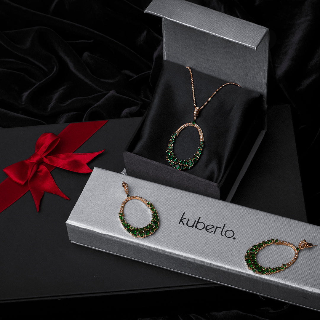 Gift Kanoor Emerald Necklace Set - Kuberlo - Best Gift for - Imitation Jewellery - Designer Jewellery - one gram gold - fashion jewellery