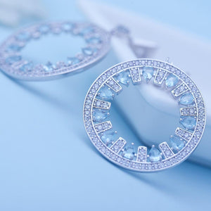 Light Blue Crystal Earrings - Kuberlo - Best Gift for - Imitation Jewellery - Designer Jewellery - one gram gold - fashion jewellery