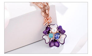 Blue Flora Multi chain Pendant - Kuberlo - Best Gift for - Imitation Jewellery - Designer Jewellery - one gram gold - fashion jewellery