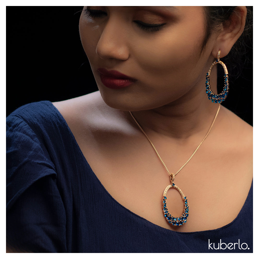 Gift Kanoor Blue Dangler Necklace Set - Kuberlo - Best Gift for - Imitation Jewellery - Designer Jewellery - one gram gold - fashion jewellery