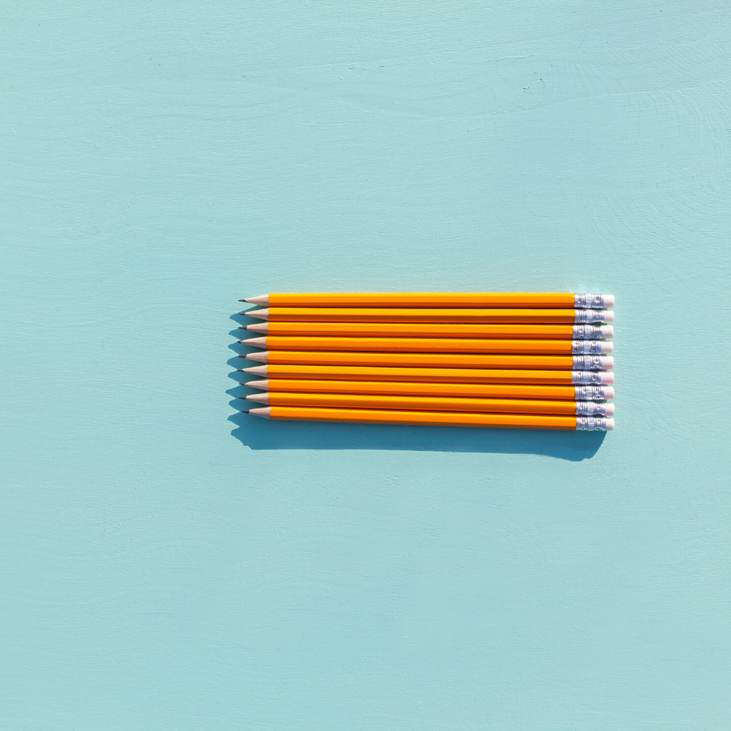 Photo of pencils on a blue background from the Julep Blog. Julep offers flower delivery Johannesburg and flowers in a box.