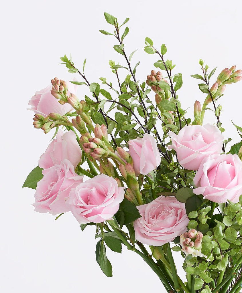 Julep flowers, close-up image of pink roses in a vase. Julep offers same day flower delivery Johannesburg, flower delivery Sandton. Flowers in a box. Buy flowers online.