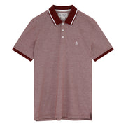Knit Micro Stripe Polo Shirt In Tawny Port