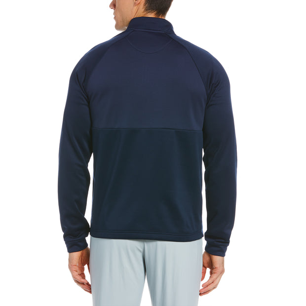 Mixed Media Quarter Zip Golf Pullover In Black Iris