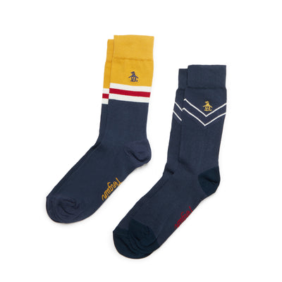 2 Pack Chevron Socks In Vintage Indigo