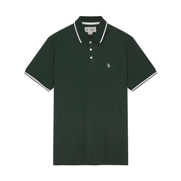 Tipped Knit Polo Shirt In Darkest Spruce