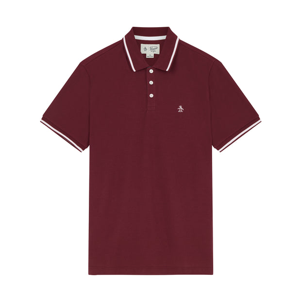 Tipped Knit Polo Shirt In Tawny Port