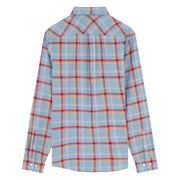 Long Sleeve Windowpane Shirt In Faded Denim