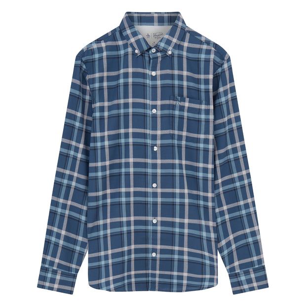 Long Sleeve Windowpane Shirt In Sargasso Sea