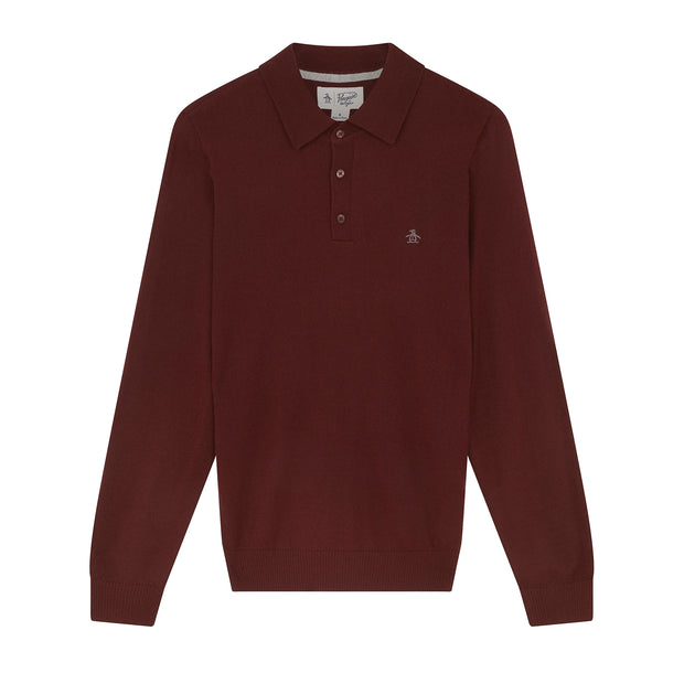 Merino Knitted Polo Sweater In Tawny Port