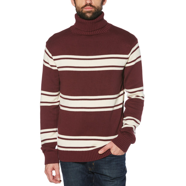 Striped Turtleneck Sweater In Tawny Port