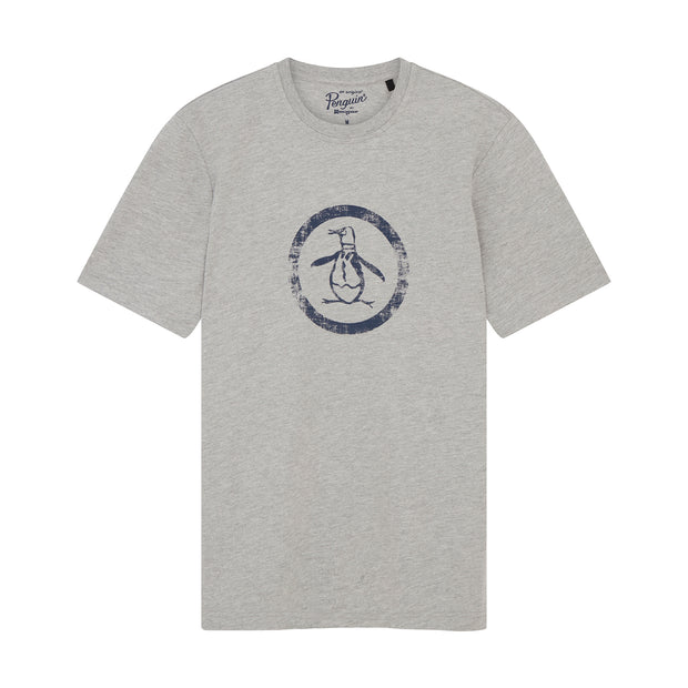 Distress Circle Logo T-Shirt In Rain Heather