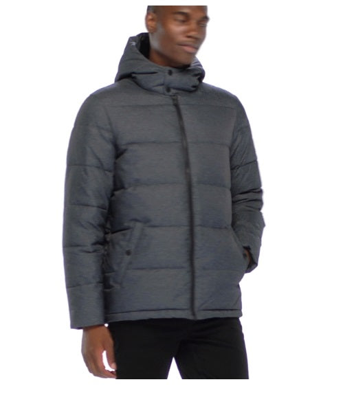 Heathered Puffer Jacket In Dark Charcoal Heather