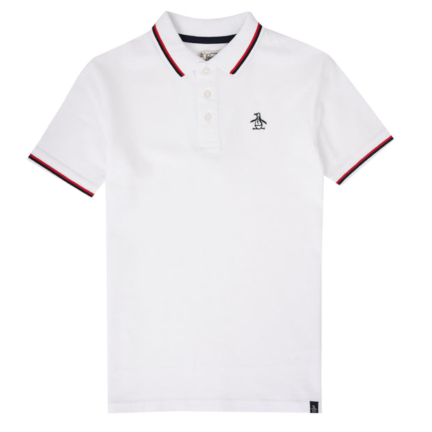 Kids Tipped Pique Polo Shirt In Bright White