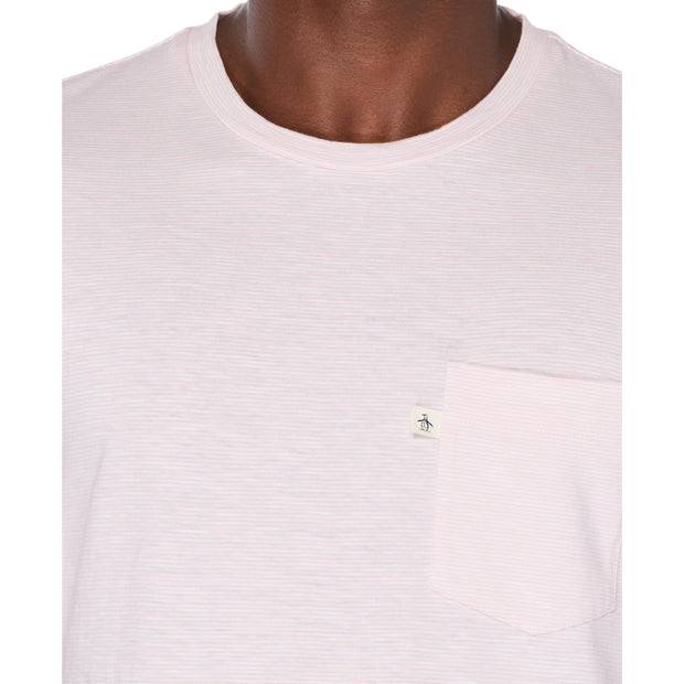 Slub Feeder Stripe Pocket Tee In Orchid Pink
