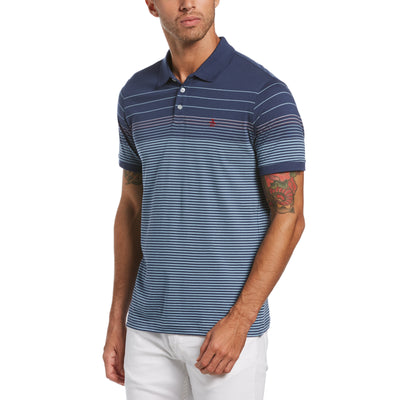 Engineered Stripe Polo Shirt In Sargasso Sea