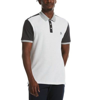 Heathered Colour Block Polo Shirt In Light Grey Melange