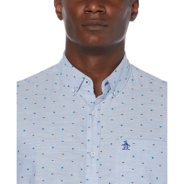 Short Sleeve Dobby Shirt In Cool Blue
