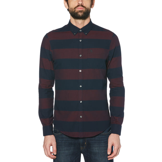 OXFORD DOBBY STRIPED SHIRT IN TAWNY PORT