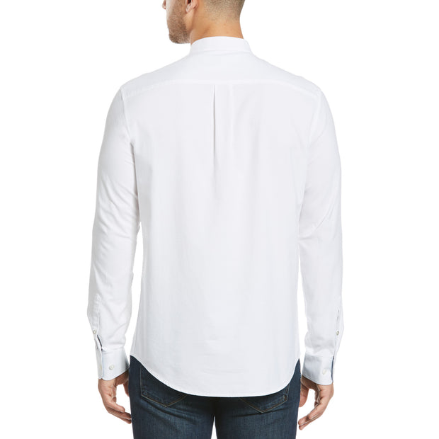 COLLARLESS OXFORD SHIRT IN BRIGHT WHITE