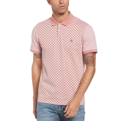 Checkerboard Jacquard Front Polo Shirt In Dusty Rose