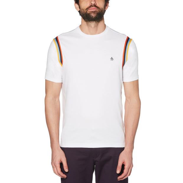 MULTI-STRIPE TAPE T-SHIRT IN BRIGHT WHITE